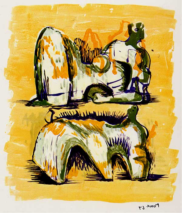 Two Reclining Figures in Yellow and Green