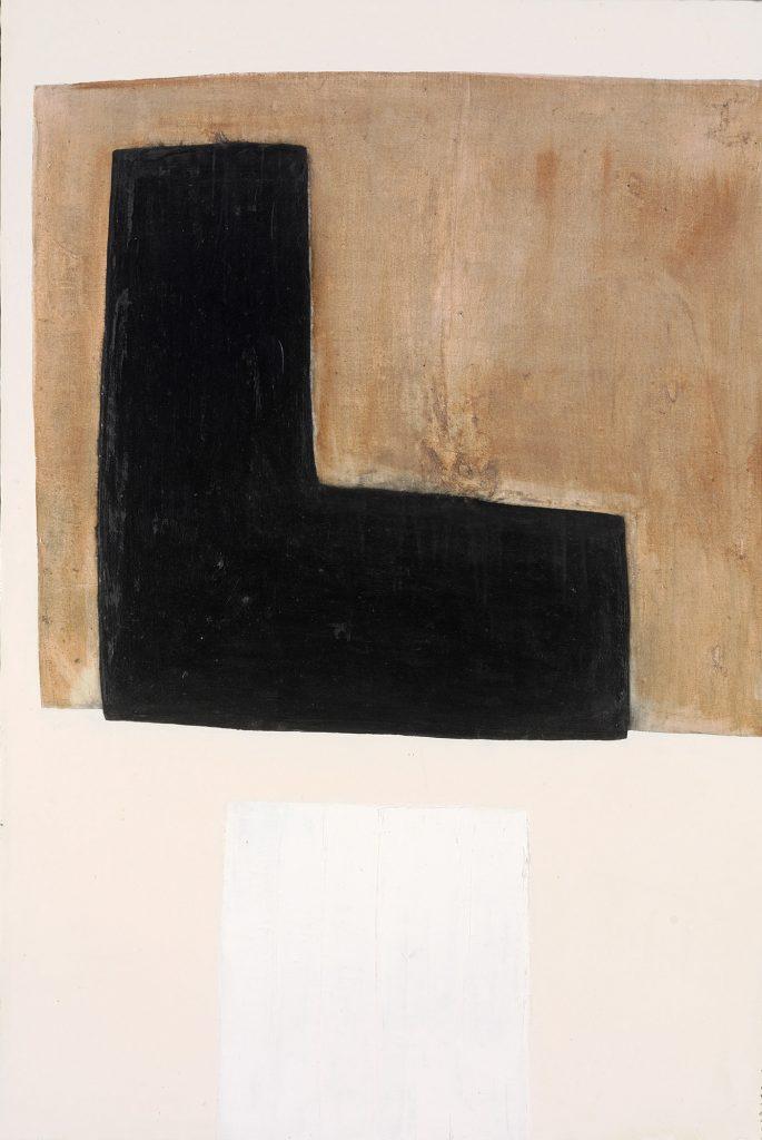 Black L on Brown/White Square Bottom