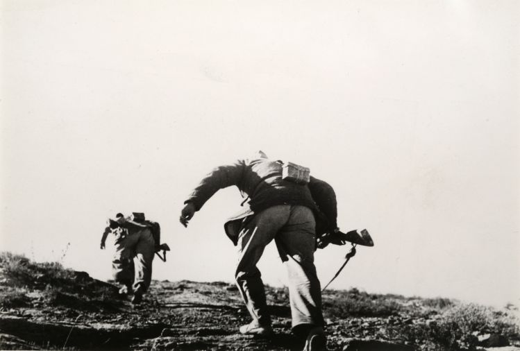 Loyalist Soldiers Running Up Hill, Battle of Rio Segre, Aragon front (near Fraga), Spain, November 7, 1938